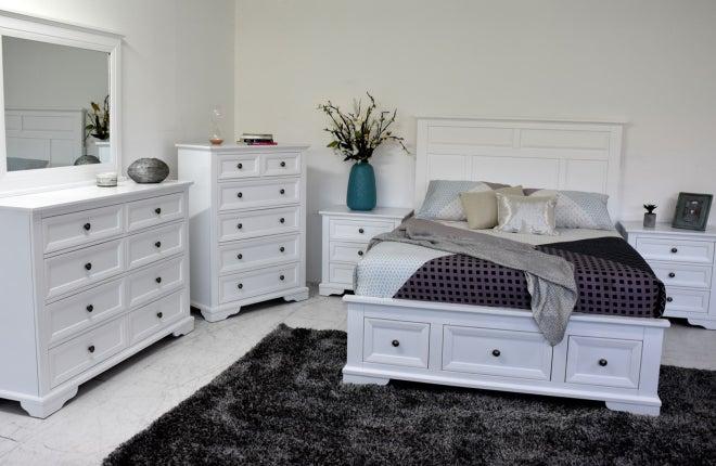 Akira Queen 5 Piece Slat Bed Bedroom Suite, White Bedroom Furniture Nz