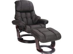 Aleta Chair & Ottoman - Charcoal Fabric