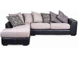 Arizona Fabric Left Chaise Lounge Suite - Black/Silver