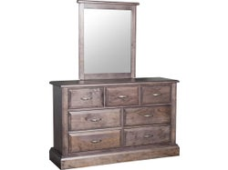 Asher 7 Drawer Dresser with Mirror - Greywash