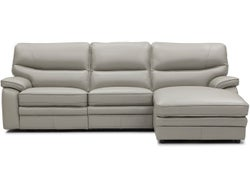 Baxter Leather Right Chaise Lounge Suite - Lead Grey