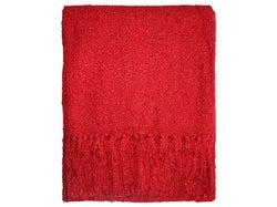 Boucle Yarn Throw - Red