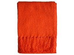 Boucle Yarn Throw - Tangerine Tango
