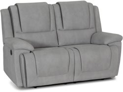 Bremen Fabric 2 Seater with 2 Built in Recliners - Smoke