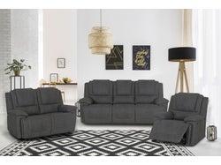 Bremen Fabric 6 Seater Recliner Lounge Suite - Graphite