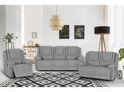Bremen Fabric 6 Seater Recliner Lounge Suite - Smoke