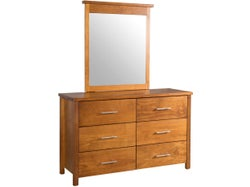 Brook 6 Drawer Dresser with Mirror - Old Rimu