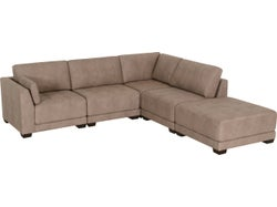 Castro Fabric Modular Right Chaise Lounge Suite - Stone