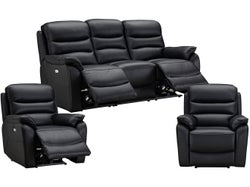 Cody 5 Seater Leather Electric Recliner Lounge Suite - Black