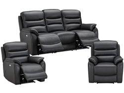 Cody 5 Seater Leather Electric Recliner Lounge Suite - Grey