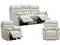 Cody 5 Seater Leather Electric Recliner Lounge Suite - Silver