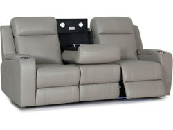 Corby Leather 3 Seater Sofa - Mid Grey
