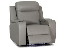 Corby Leather Electric Recliner - Mid Grey