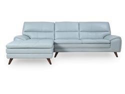 La-Z-Boy Splendor Leather Left Chaise Lounge Suite - Aqua