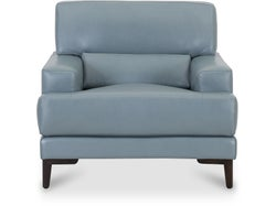 Livigno Leather Armchair - Steel Blue