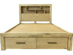 Louie King Slat Bed with Drawers