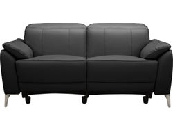 Malta Leather 2 Seater Electric Recliner Sofa - Midnight