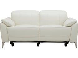 Malta Leather 2 Seater Electric Recliner Sofa - White