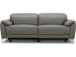Malta Leather 3 Seater Electric Recliner Sofa - Cement