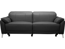 Malta Leather 3 Seater Electric Recliner Sofa - Midnight