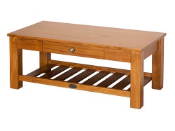 Marsden Coffee Table with Rack and Drawer - Old Rimu