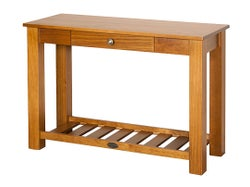 Marsden Hall Table With Rack & Drawer - Old Rimu