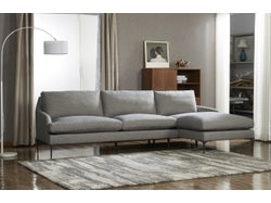 Modena Fabric Right Chaise Lounge Suite - Grey