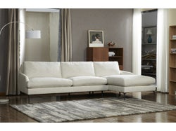 Modena Fabric Right Chaise Lounge Suite - Oatmeal