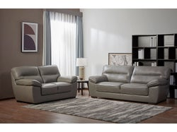 Naxos Leather 5 Seater Lounge Suite - Cement