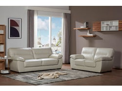 Naxos Leather 5 Seater Lounge Suite - Light Grey