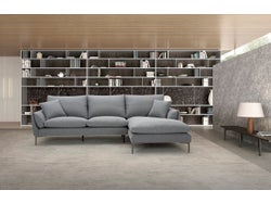 Prague Fabric Right Chaise Lounge Suite - Charcoal