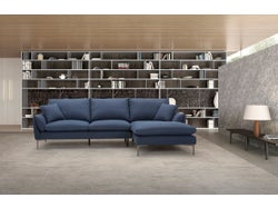 Prague Fabric Right Chaise Lounge Suite - Navy