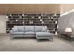 Prague Fabric Right Chaise Lounge Suite - Steel