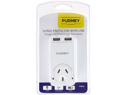 Pudney Single Surge Protector with 3.1A 2x USB Ports