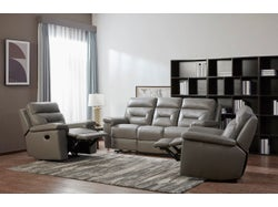 Rhode Leather 5 Seater Lounge Suite - Cement
