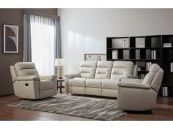 Rhode Leather 5 Seater Lounge Suite - Light Grey