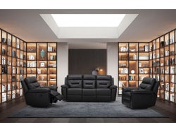 Rhode Leather 5 Seater Lounge Suite - Midnight