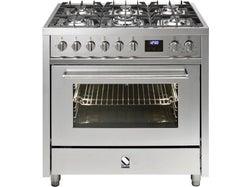 Steel Enfasi 90cm Gas Hob Electric Range Cooker - Stainless Steel