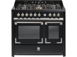 Steel Oxford 100cm Gas Hob Double Multifunction Electric Ovens - Matte Black