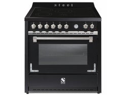 Steel Oxford 90cm Induction Hob Multifunction Electric Oven Freestanding Oven