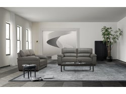 Syros Leather 5 Seater Lounge Suite - Cement