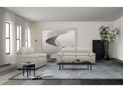 Syros Leather 5 Seater Lounge Suite - Light Grey
