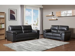 Syros Leather 5 Seater Lounge Suite - Midnight