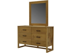 Tribeca 6 Drawer Dresser and Mirror - Sawn Crate