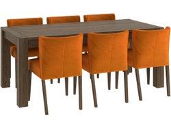 Turin 7 Piece Dining Suite - Dark Oak/Pumpkin