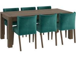 Turin 7 Piece Dining Suite - Dark Oak/Sea Green