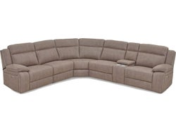 Vienna Fabric 5 Seater Corner Suite With Built In Recliners - Stone