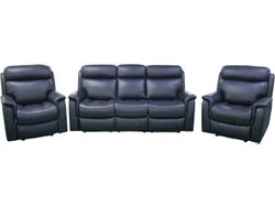 Wyatt 5 Seater Leather Lounge Suite with Electric Recliners - Black