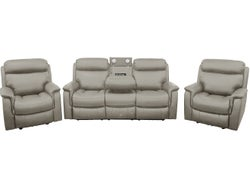 Wyatt 5 Seater Leather Lounge Suite with Electric Recliners - Grey