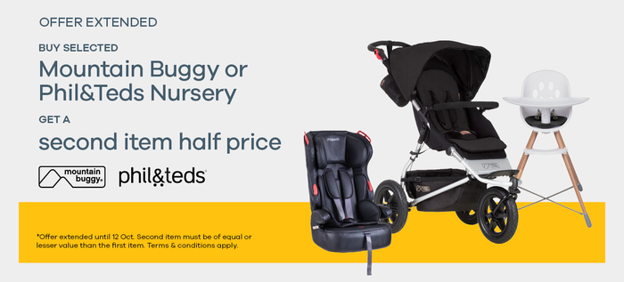Buy selected Mountain Buggy or phil&ted nursery and get a second item half price*